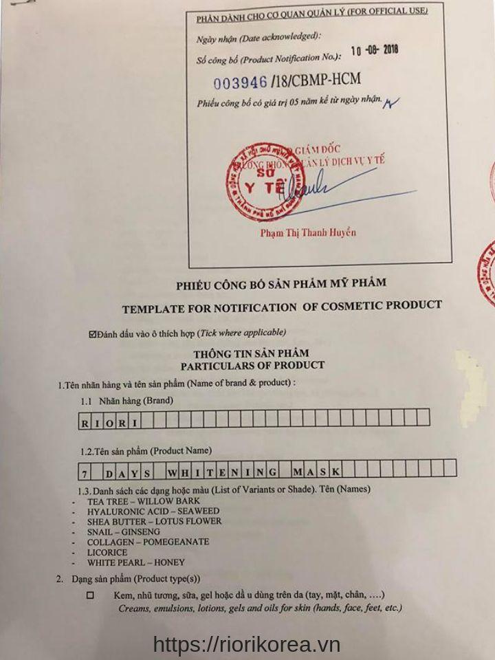 Giấy công bố lưu hành mặt nạ giấy 7 days mask Riori của Sở Y tế TpHCM